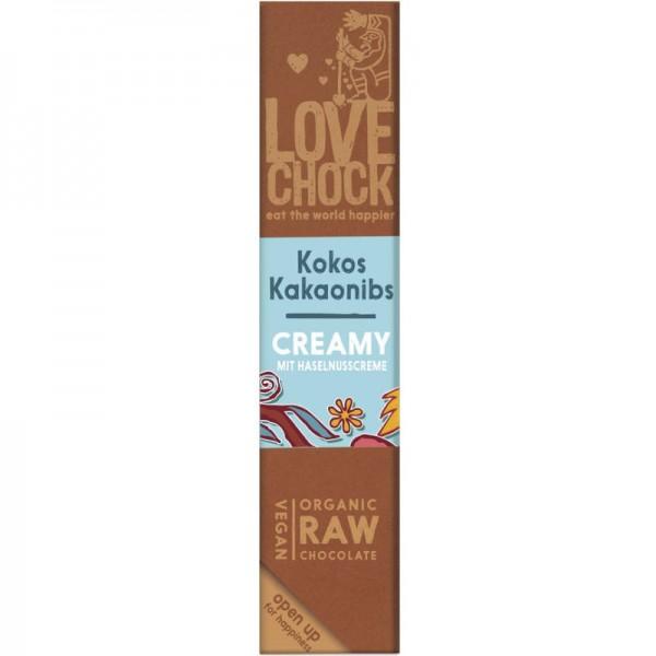 Roh-Schokoriegel Creamy mit Kokos & Kakaonibs Bio, 40g - Lovechock
