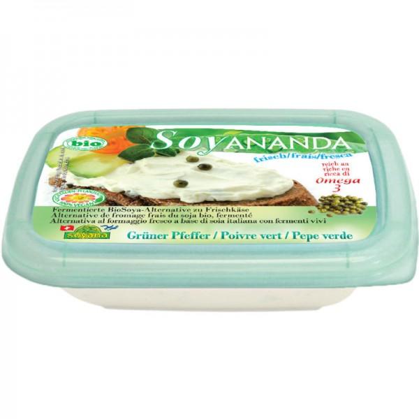 Grüner Pfeffer vegane Frischkäse-Alternative Soyananda Bio, 140g - Soyana