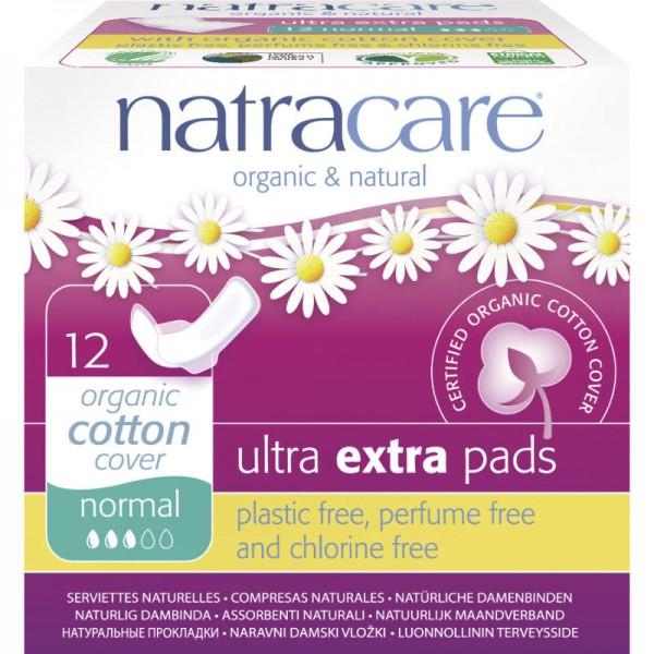 Ultra Extra Damenbinden 'normal' Bio-Baumwolle, 12 Stück - Natracare