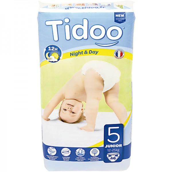 No.5 Junior '12-25kg' Tag & Nacht Windeln, 46 Stück - Tidoo
