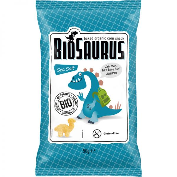 Gebackene Mais Chips Sea Salt Junior Bio, 50g - BioSaurus