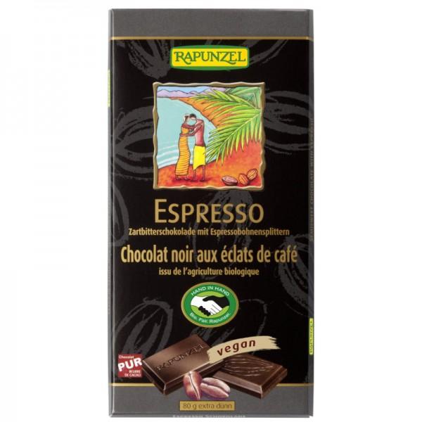 Zartbitterschokolade mit Espressobohnensplittern Bio, 80g - Rapunzel