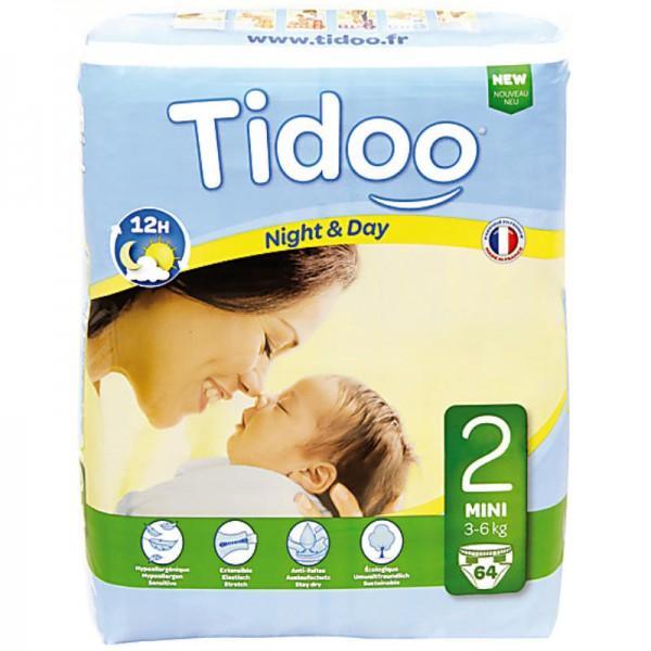 No.2 Mini '3-6kg' Tag & Nacht Windeln, 58 Stück - Tidoo