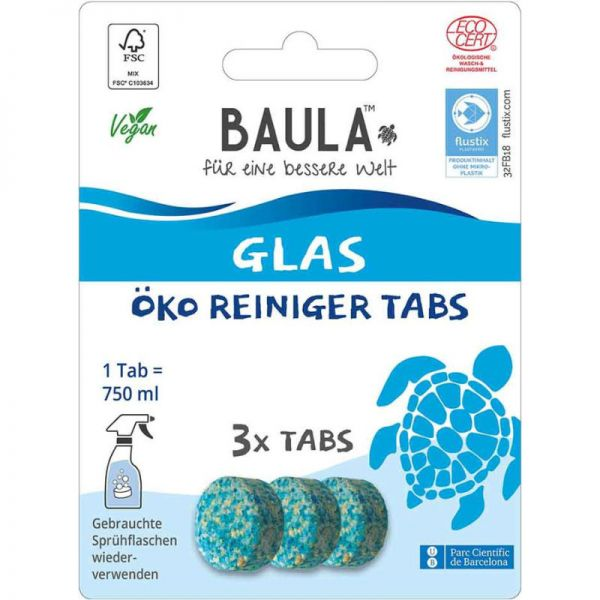 Glas Öko Reiniger Tabs, 3 Tabs - BioBaula
