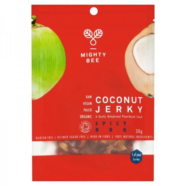 Coconut Jerky Spicy BBQ Bio, 30g - Mighty Bee