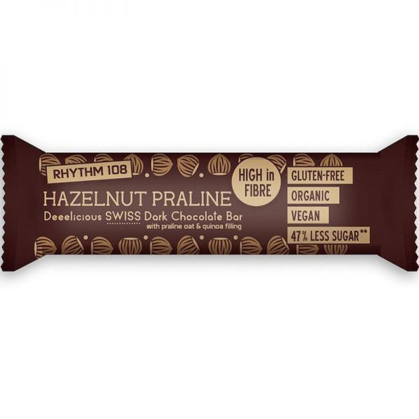 Deeelicious Swiss Dark Chocolate Hazelnut Praline Bar Bio, 33g - Rhythm 108