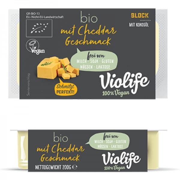 Block mit Cheddar Geschmack Bio, 200g - Violife