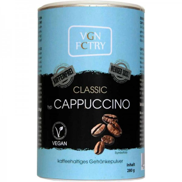 Instant Cappuccino Classic WENIGER SÜSS! KOFFEINFREI, 280g - VGN FCTRY
