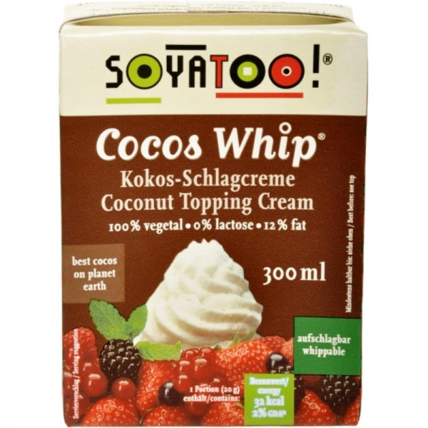 Cocos Whip Coconut Topping Cream, 300ml - Soyatoo