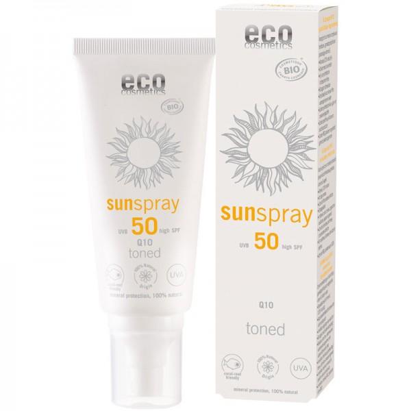 Sonnenspray LSF 50 getönt mit Q10, 100ml - eco cosmetics