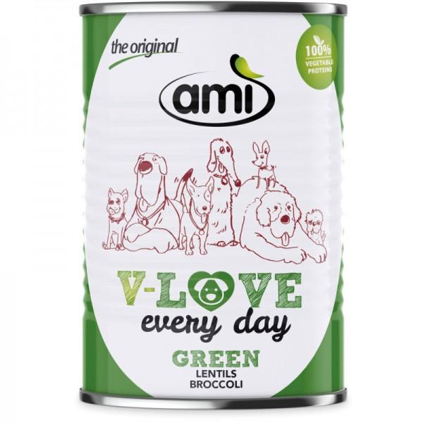 V-Love Green Hunde Nassfutter Lentils & Broccoli, 400g - Ami