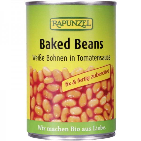 Baked Beans weisse Bohnen mit Tomatensauce in der Dose Bio, 400g - Rapunzel