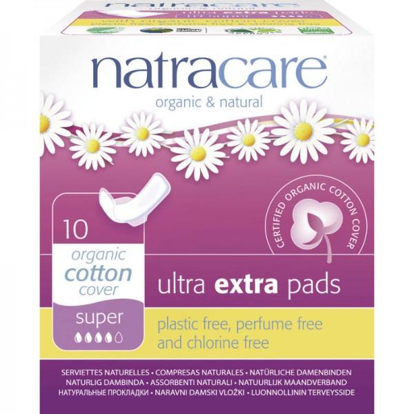 Ultra Extra Damenbinden 'super' Bio-Baumwolle, 10 Stück - Natracare
