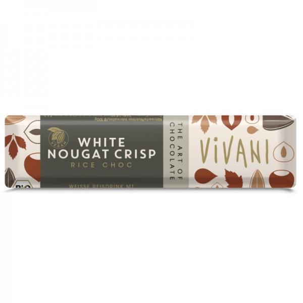 White Nougat Crisp Rice Choc Riegel Bio, 35g - Vivani