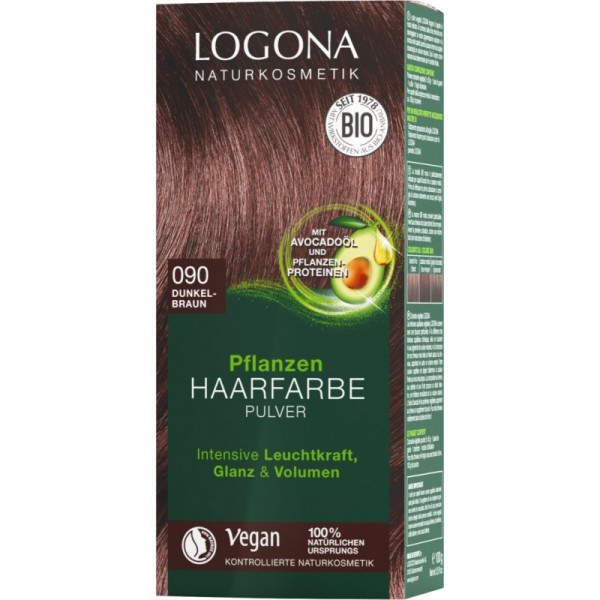 Pflanzen Haarfarbe 090 dunkelbraun, 100g - Logona