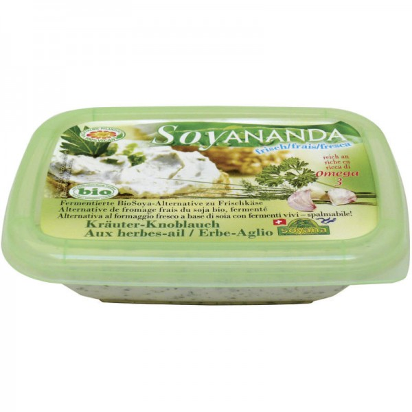 Kräuter-Knoblauch vegane Frischkäse-Alternative Soyananda Bio, 140g - Soyana