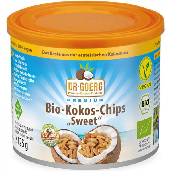 Kokos-Chips süss Bio, Dose 125g - Dr. Goerg