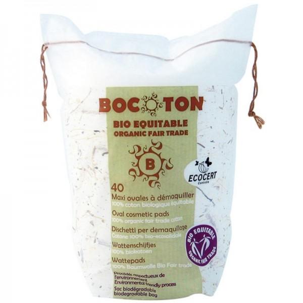 Wattepads Maxi Oval Bio-Baumwolle, 40 Stück - Bocoton