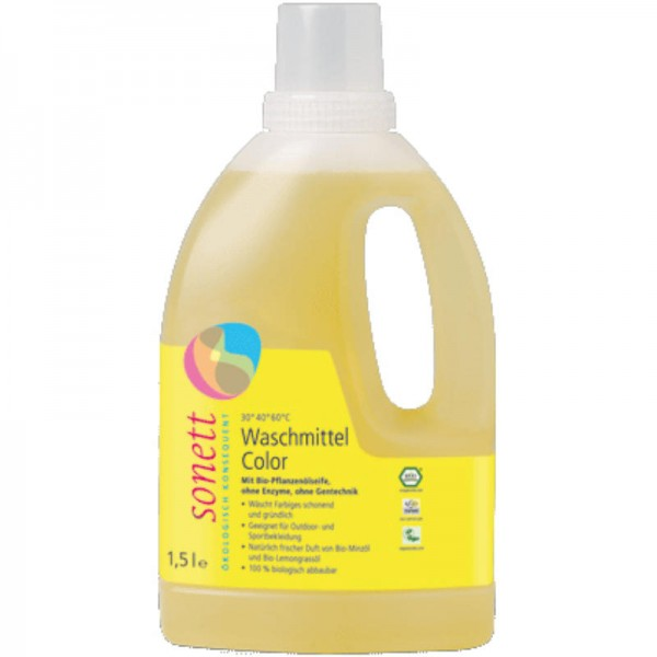 Waschmittel Color flüssig 30° 40° 60°C Mint Lemon, 1.5L -Sonett