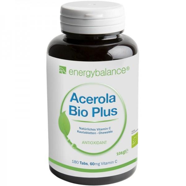Acerola Bio Plus natürliches Vitamin C 60mg, 180 Lutschtabletten - Energybalance
