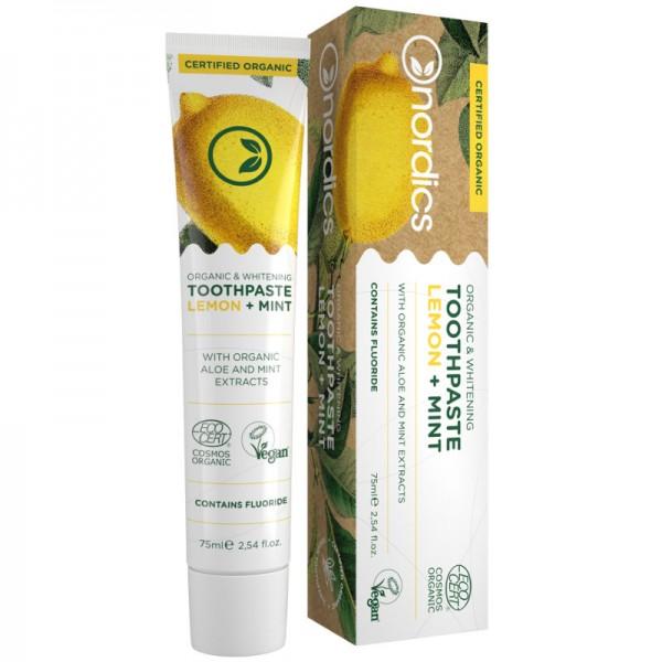 Organic & Whitening Toothpaste Lemon + Mint, 75ml - nordics
