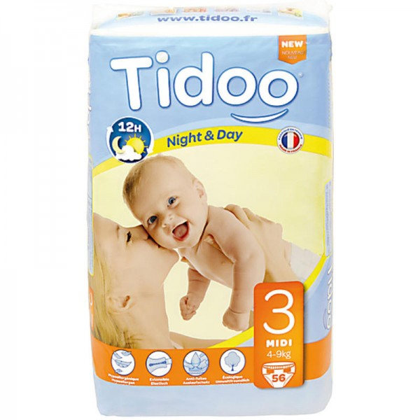 No.3 Midi '4-9kg' Tag & Nacht Windeln, 56 Stück - Tidoo
