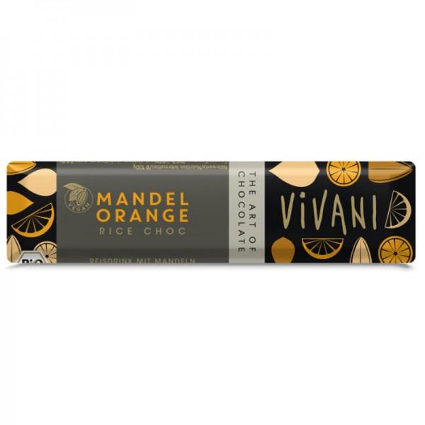 Mandel Orange Rice Choc Riegel Bio, 35g - Vivani