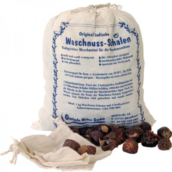 Waschnuss-Schalen Beutel (inkl. 1 Waschsäcklein), 1kg - Govinda