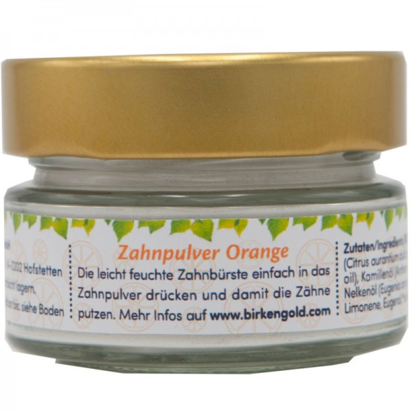 Zahnpulver Orange Kids Glas, 30g - Birkengold