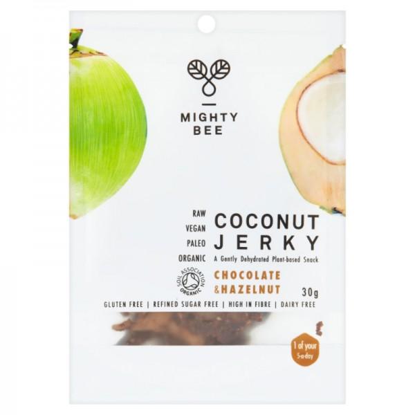Coconut Jerky Chocolate & Hazelnut Bio, 30g - Mighty Bee