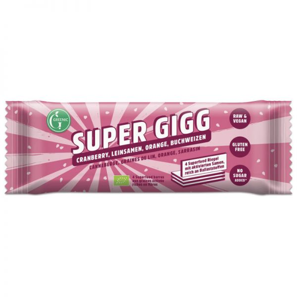 Super Gigg Cranberry, Leinsamen, Orange, Buchweizen, Bio, 23g - Greenic
