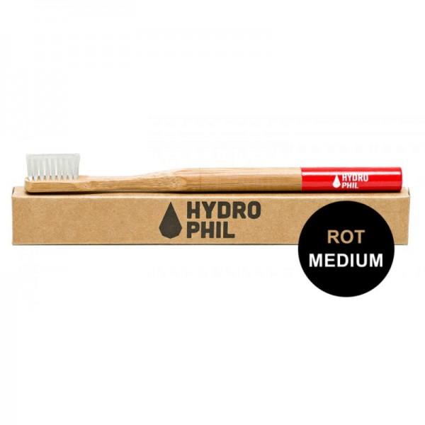 Bambus Zahnbürste 'Rot' mit mittel weichen Borsten, 1 Stück - Hydrophil