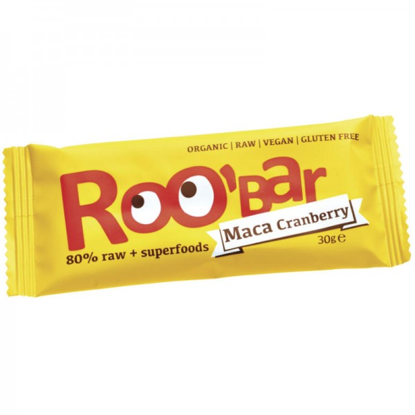 Maca Cranberry Rohkost Riegel Bio, 30g - Roo'Bar