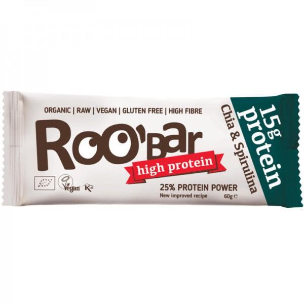 Chia & Spirulina Protein Rohkost Riegel Bio, 60g - Roo'Bar