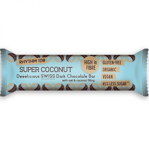 Deeelicious Swiss Dark Chocolate Super Coconut Bar Bio, 33g - Rhythm 108