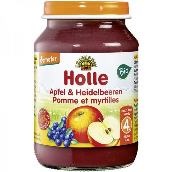 Apfel & Heidelbeeren Früchtegläschen Bio, 190g - Holle